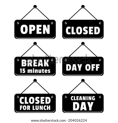 Tablets open and closed signs vector set - stock vector