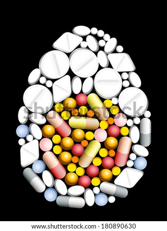 Tablets, pills and capsules, that shape an egg. - stock vector