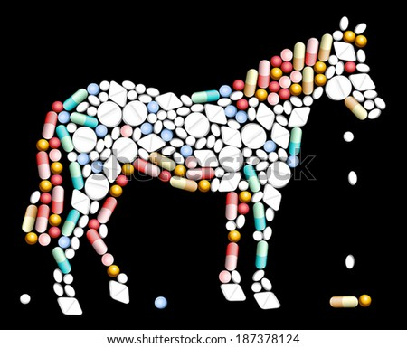 Tablets, pills and capsules, that shape the silhouette of a horse. - stock vector