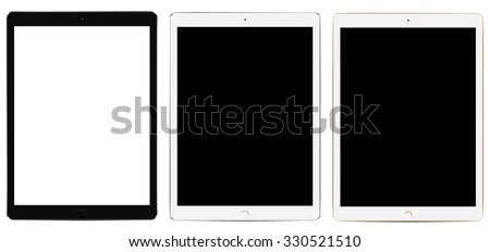 Tablets Pro with blank screen isolated on white background - stock vector