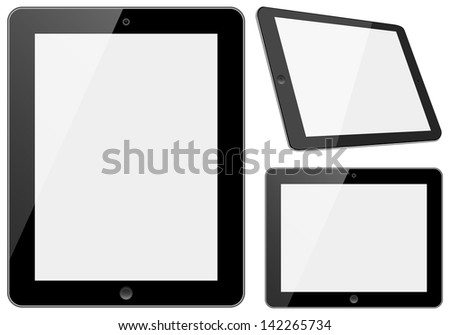 Tablets Set - Set of tablet computers with shiny white screens isolated on white background.  Eps10 file with transparency.