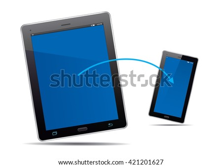 Tablets, smart phone and blue screens. Vector Illustration.