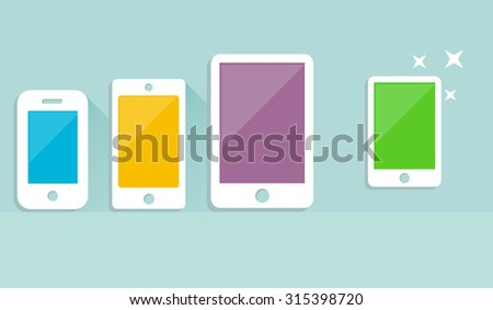 Tablets with blank screen  - stock vector