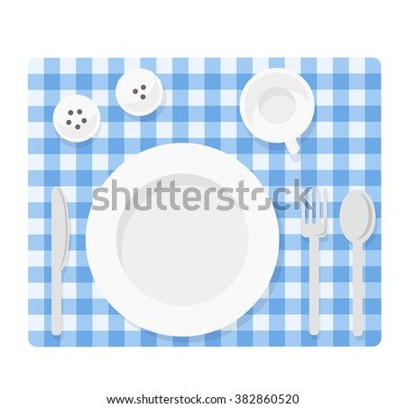 Tableware. Empty plate with knife, spoon, fork, cup, salt and pepper. Empty dishes top view illustration. Flat tableware on tablecloth. Picnik table  setting ready for dinner. - stock vector