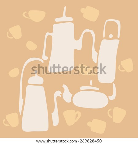Tableware for tea and coffee. coffee pot and tea pot. Cups for tea and coffee. Set for tea ceremony. Advertising banner. Print. - stock vector
