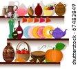 Tableware home on the shelves - stock vector