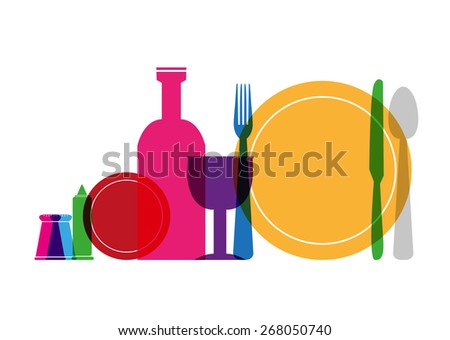 Tableware in Colorful Style Illustration Concept Isolated on White. Editable EPS10 Vector and jpg artwork. - stock vector