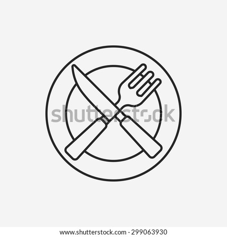 tableware line icon - stock vector