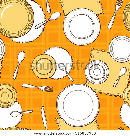 Tableware seamless pattern. Hand-drawn various dishware such as spoon, fork, knife, cups and plates on the yellow checkered tablecloth. Vector background. - stock vector