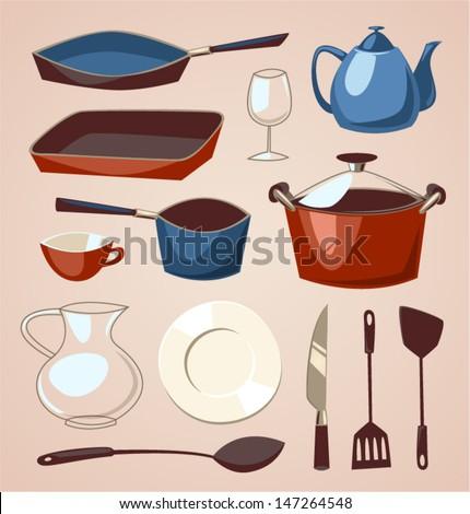 Tableware set. Household series vector illustration. - stock vector