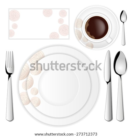 Tableware set with abstract roses