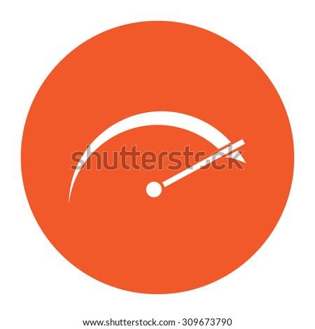 Tachometer. Flat white symbol in the orange circle. Vector illustration icon - stock vector