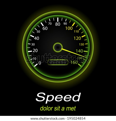 Tachometer icon. Green light color. Vector EPS10