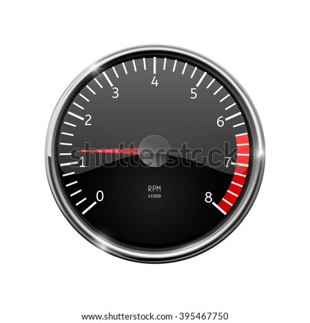 Tachometer. Realistic illustration, with chrome frame. Vector isolated on white background
