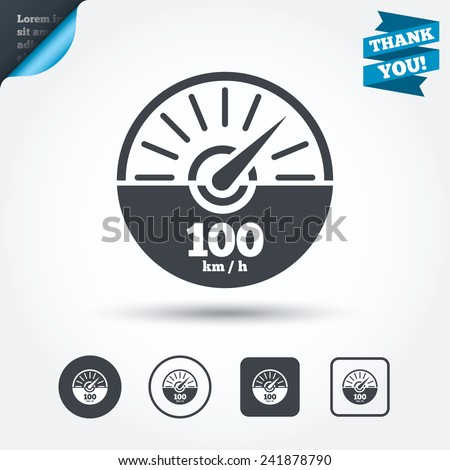 Tachometer sign icon. 100 km per hour revolution-counter symbol. Car speedometer performance. Circle and square buttons. Flat design set. Thank you ribbon. Vector - stock vector
