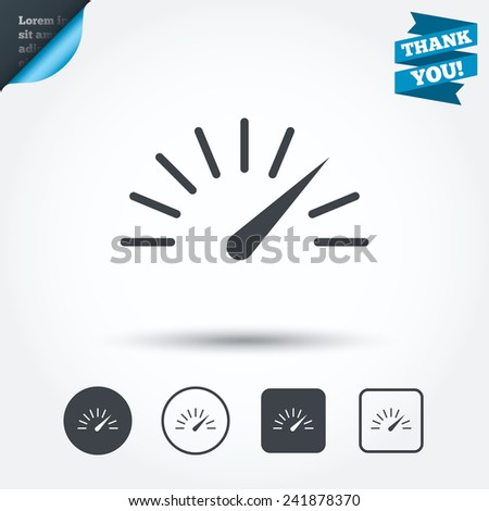Tachometer sign icon. Revolution-counter symbol. Car speedometer performance. Circle and square buttons. Flat design set. Thank you ribbon. Vector - stock vector