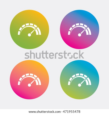 Tachometer sign icon. Revolution-counter symbol. Car speedometer performance. Gradient flat buttons with icon. Modern design. Vector