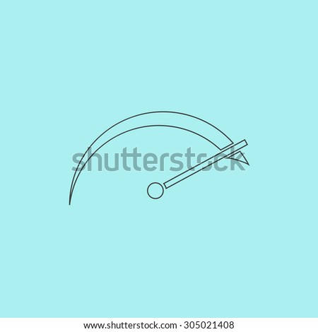 Tachometer. Simple outline flat vector icon isolated on blue background - stock vector