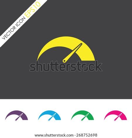 Tachometer vector icon. Car speedometer performance. - stock vector