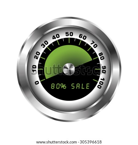 Tachometer with sign for sale 80% - stock vector