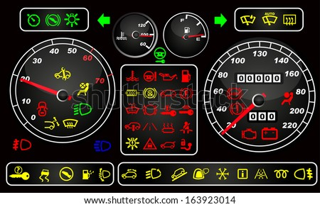 Tachometers and dashboard icons - stock vector