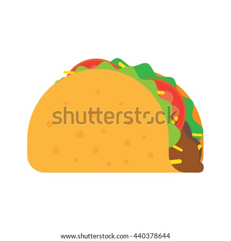 Taco mexican food vector illustration in flat style. Traditional tacos isolated from background - stock vector