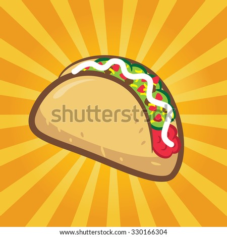 taco with yellow burst background - stock vector