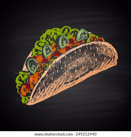 Tacos sharp color illustration chalk. - stock vector