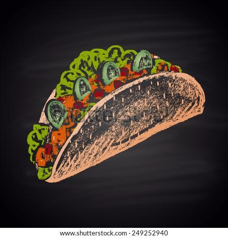 Tacos sharp color illustration chalk. - stock vector