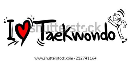 Taekwondo love - stock vector