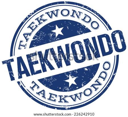 taekwondo stamp - stock vector