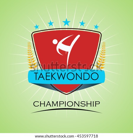 Taekwondo - Winner Golden Laurel Seal  - Layered EPS 10 Vector - stock vector