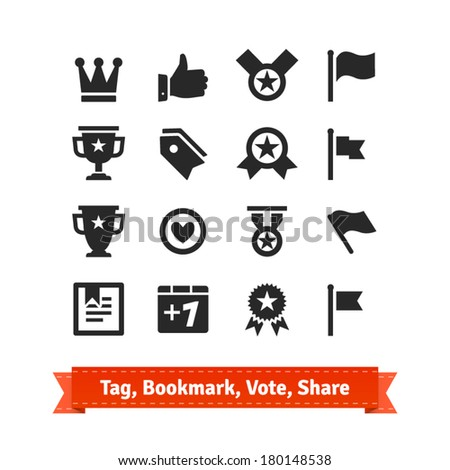 Tag, Bookmark, Vote, Share icon set. Various vector signs of approval. - stock vector