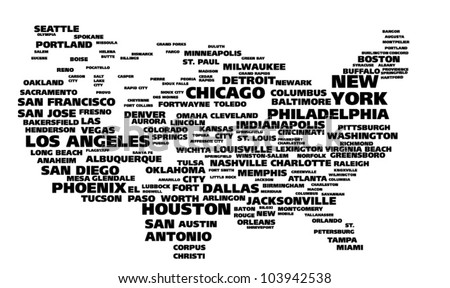 Tag cloud - cities of USA