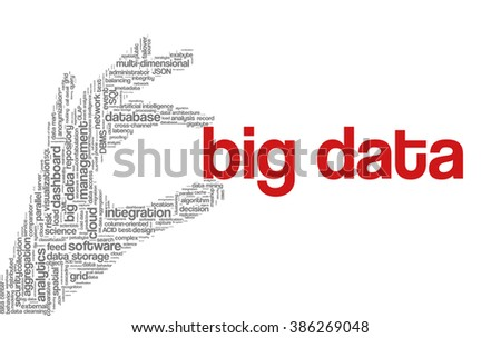 """Tag cloud containing words related to big data, cloud computing, business intelligence, clickstream analytics, data management and database technologies; in shape of hand holding words """"big data"""" - stock vector"""