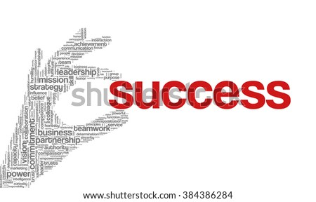 "Tag cloud containing words related to strategy, leadership, business, innovation, success, motivation, vision, mission and teamwork in the shape of hand holding a word. ""Success"" emphasized. - stock vector"
