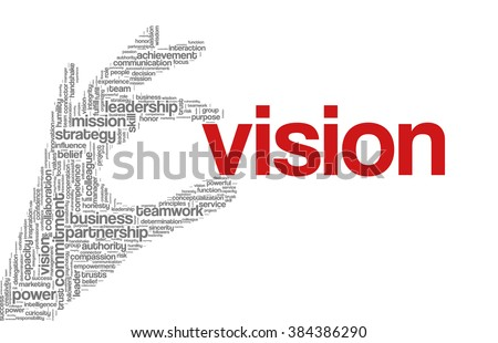 "Tag cloud containing words related to strategy, leadership, business, innovation, success, motivation, vision, mission and teamwork in the shape of hand holding a word. ""Vision"" emphasized. - stock vector"