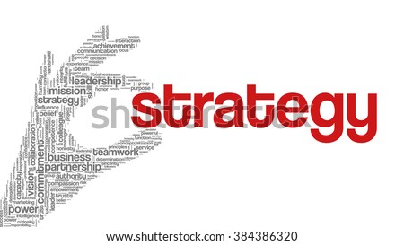 "Tag cloud containing words related to strategy, leadership, business, innovation, success, motivation, vision, mission and teamwork in the shape of hand holding a word. ""Strategy"" emphasized. - stock vector"