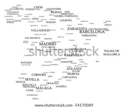 Tag cloud - Spain's larger cities - stock vector