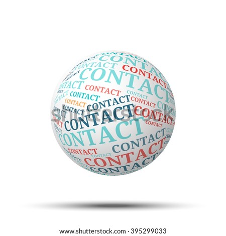 Tag cloud sphere Contact, isolated on white background