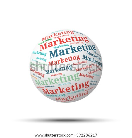 Tag cloud sphere Marketing, isolated on white background