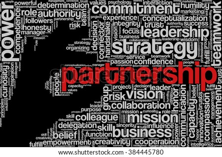 "Tag cloud with words related to strategy, leadership, business, innovation, success, motivation, vision, mission and teamwork in the shape of hand holding a word, on black. ""Partnership"" emphasized. - stock vector"