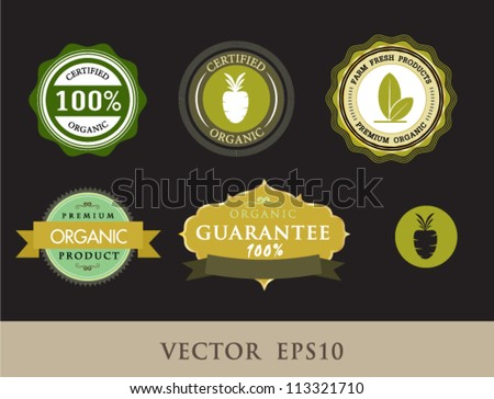 Tag for vegetable, Set of vintage retro labels, stamps, ribbons, marks and calligraphic design elements, vector  - stock vector