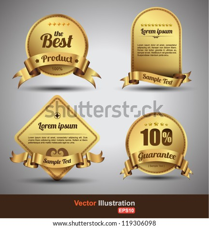 Tag  gold classic / for sale / wine / promotion / guarantee / Hot product /best product / price - stock vector