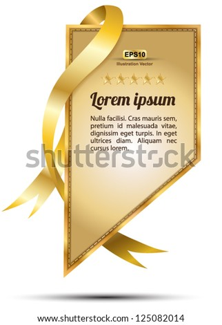 Tag gold ribbon rectangle / for sale , promotion, special product - stock vector