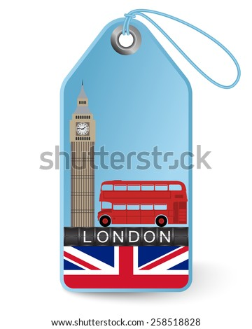 Tag London and Big Ben - stock vector