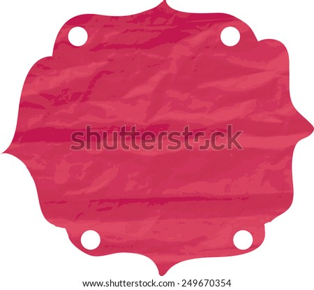 Tag of crumpled paper with punched holes. - stock vector