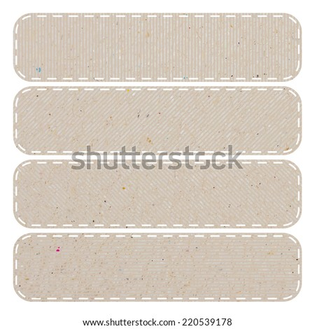 Tag recycled paper craft stick on white background, vector illustration - stock vector