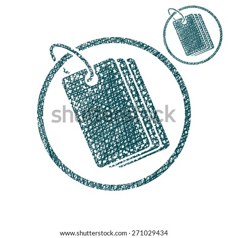 Tag retail theme vector simple single color icon isolated on white background with sketch lined hand drawn texture. - stock vector