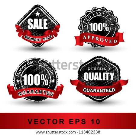 TAG scribble style, Set of vintage retro labels, stamps, ribbons, marks and calligraphic design elements, vector  - stock vector